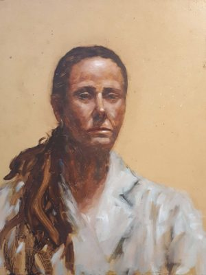 Alyson May - Classic Self Portrait, oil on board, 42 x 33cm