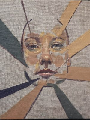 Alyson May - Geometric Self Portrait, oil on linen, 20 x 25cm