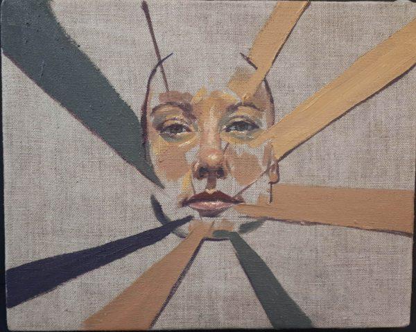 Alyson May - Geometric Self Portrait, oil on linen, 20 x 25cm