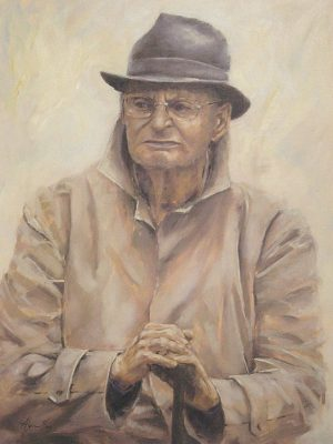 Alyson May - Harold in Contemplation, oil on linen, 60 x 90cm