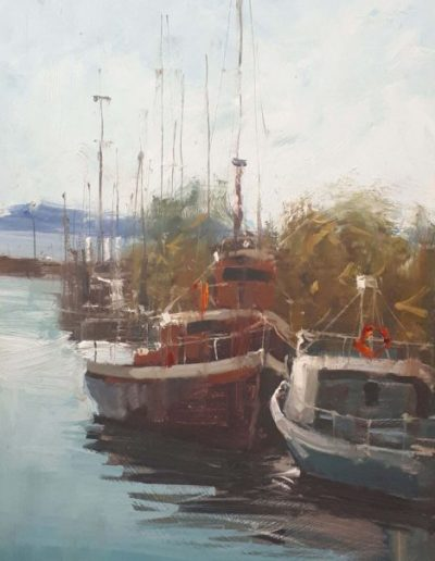 Alyson May - Rigging on Red, oil on canvas, 62 x 28cm
