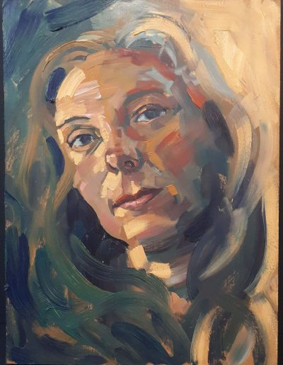 Alyson May - Self Portrait in Yellow, oil on board, 30 x 22cm