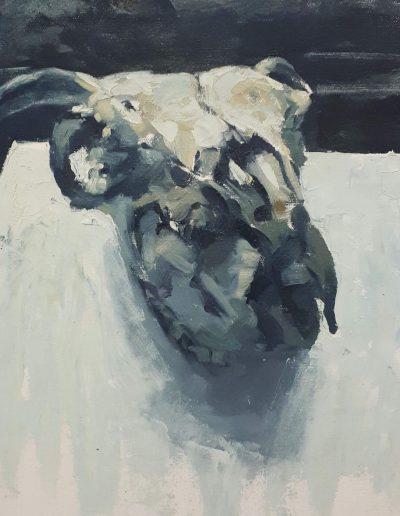 Alyson May - Skull in Grey, oil on canvas, 29 x 30cm