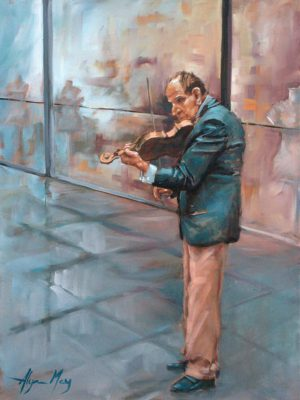 Alyson May - Violin Busker. oil on canvas, 680w x 880h