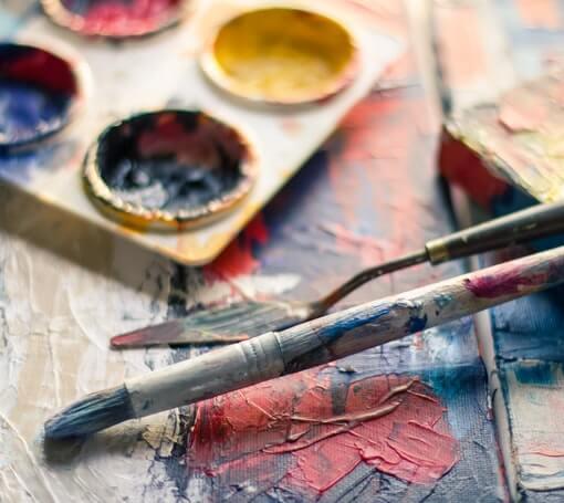 Paintbrush Near Paint Pallet